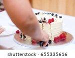 female caucasian person cutting ...   Shutterstock . vector #655335616