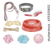watercolor pets accessories set | Shutterstock . vector #655335832