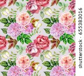 watercolor roses pattern | Shutterstock . vector #655383016