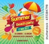 summer beach party poster | Shutterstock .eps vector #655384798