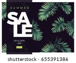 dark vector tropical typography ... | Shutterstock .eps vector #655391386