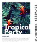 floral vertical party flyer... | Shutterstock .eps vector #655391416
