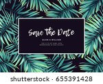 dark tropical wedding design... | Shutterstock .eps vector #655391428