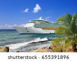 Luxury Cruise Ship In Port On...