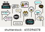 photo booth props birthday... | Shutterstock .eps vector #655396078