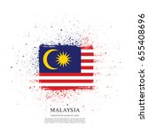 flag of malaysia  brush stroke... | Shutterstock .eps vector #655408696