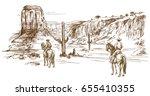 american wild west desert with...   Shutterstock .eps vector #655410355