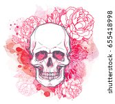 human skull with peony  rose... | Shutterstock .eps vector #655418998