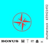 compass icon flat. simple red...
