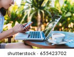young business woman using... | Shutterstock . vector #655423702
