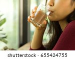 women are drinking water. | Shutterstock . vector #655424755