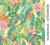 vector seamless tropical floral ... | Shutterstock .eps vector #655430638