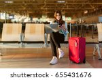 airport young female passenger... | Shutterstock . vector #655431676