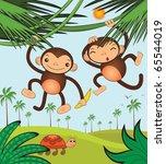 funny monkeys   Shutterstock .eps vector #65544019