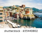 boccadasse  with its colorful... | Shutterstock . vector #655440802