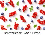 flat lay of blueberries and... | Shutterstock . vector #655444966