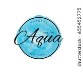 beauty aqua watercolor tag logo.... | Shutterstock .eps vector #655452775