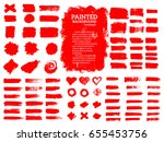 painted grunge stripes set. red ... | Shutterstock .eps vector #655453756