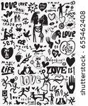 love   valentine's day doodles... | Shutterstock .eps vector #655462408