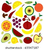 colorful fruit and vegetables... | Shutterstock .eps vector #65547187