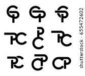vector set of initial letter cp ... | Shutterstock .eps vector #655472602