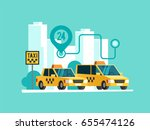 taxi service. yellow taxi cab.... | Shutterstock .eps vector #655474126