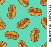 hot dog sausage fast food... | Shutterstock .eps vector #655476316