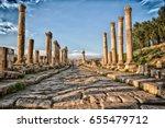 in jerash jordan the antique... | Shutterstock . vector #655479712