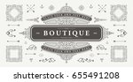 set of vintage decorations... | Shutterstock .eps vector #655491208