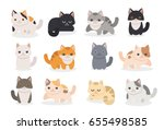 Stock vector set of different cartoon cats vector illustration isolated on white background 655498585