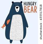 hand drawing bear print design...   Shutterstock .eps vector #655517818