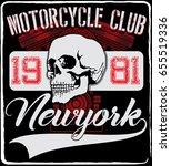 motorcycle skull tee graphic... | Shutterstock .eps vector #655519336