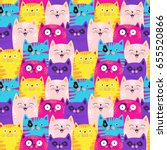cute cats colorful seamless... | Shutterstock .eps vector #655520866