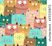 cute cats colorful seamless... | Shutterstock .eps vector #655520872