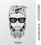 indie men hipster hair style... | Shutterstock .eps vector #655524382
