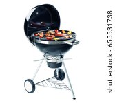 charcoal bbq barbecue grill... | Shutterstock . vector #655531738