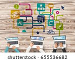group of three people with... | Shutterstock . vector #655536682