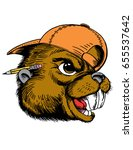 Mascot Beaver Head, proud and tough, which gives tribute to traditional school mascots but with a new look and attitude. Suitable for all sports. - stock vector