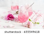 Stock photo summer refreshing desserts vegan diet food ice cream frozen rose froze with rose petals and 655549618