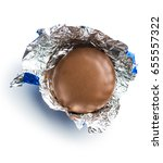 Small photo of The Chocolate biscuit wrapped in aluminium foil.