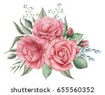 hand painted watercolor... | Shutterstock . vector #655560352