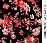 seamless pattern. pomegranate... | Shutterstock .eps vector #655566472