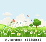 summer or spring landscape for... | Shutterstock .eps vector #655568668