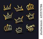 gold crown set  hand drawn ... | Shutterstock .eps vector #655570786