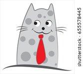 funny cartoon cat vector... | Shutterstock .eps vector #655578445