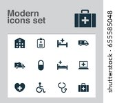 medicine icons set. collection...   Shutterstock .eps vector #655585048
