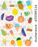 colorful summer pattern with... | Shutterstock .eps vector #655589116