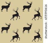 pattern two deer on a light... | Shutterstock . vector #655593616