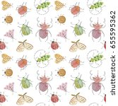 watercolor insects pattern.... | Shutterstock . vector #655595362