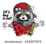 vector raccoon with red cap ... | Shutterstock .eps vector #655597075